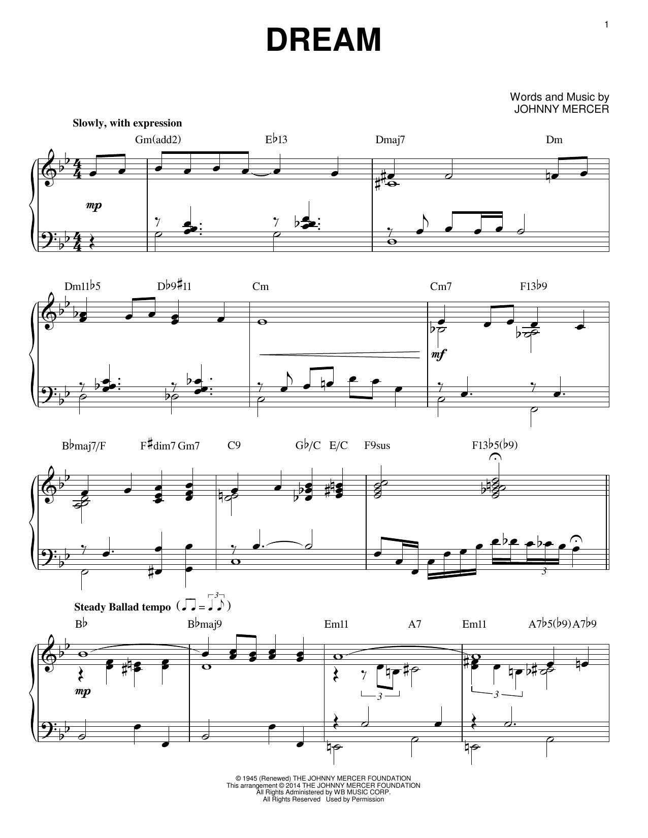 Partition piano Dream de Johnny Mercer - Piano Solo