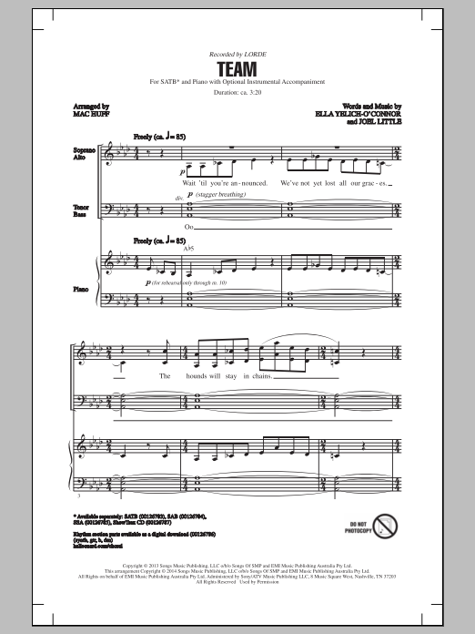 Partition chorale Team (arr. Mac Huff) de Lorde - SATB