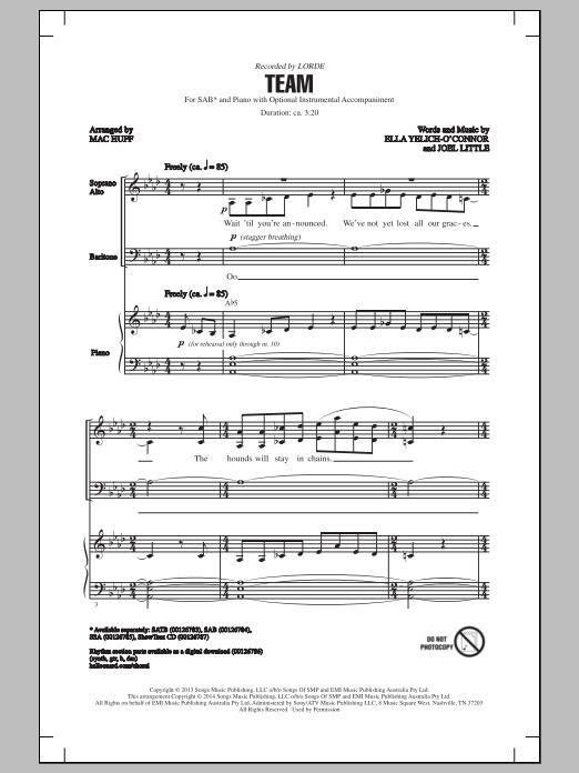 Partition chorale Team (arr. Mac Huff) de Lorde - SAB
