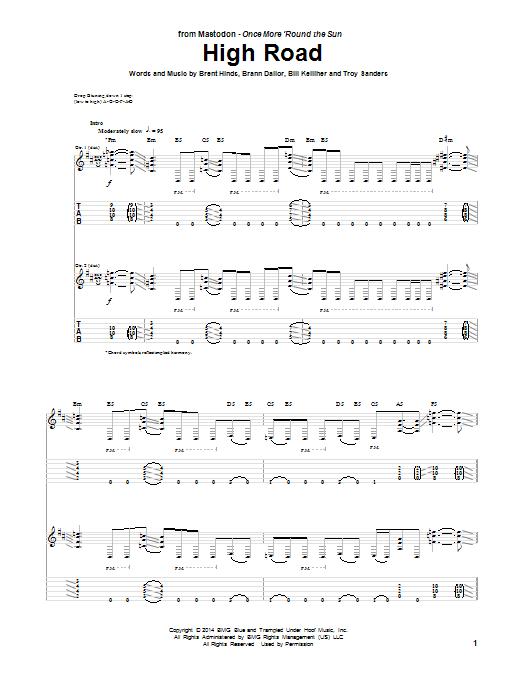 Tablature guitare High Road de Mastodon - Tablature Guitare