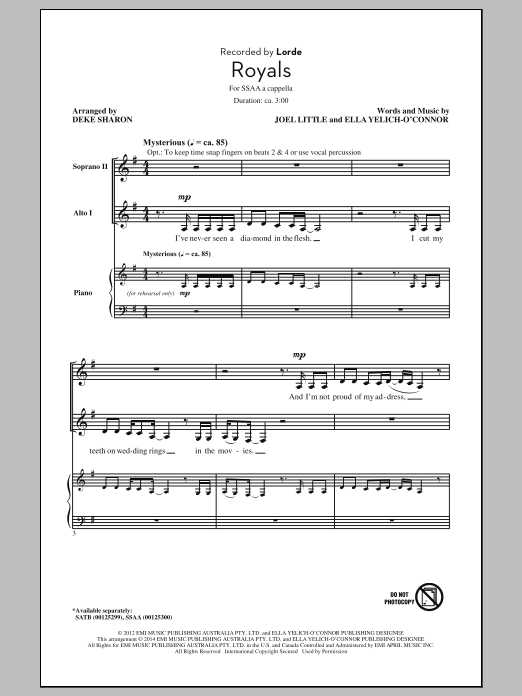 Partition chorale Royals (arr. Deke Sharon) de Lorde - SSA