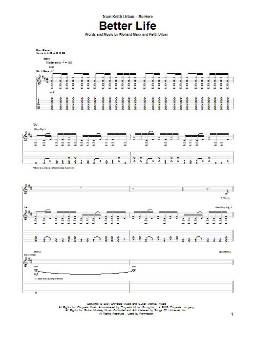 Tablature guitare Better Life de Keith Urban - Tablature Guitare