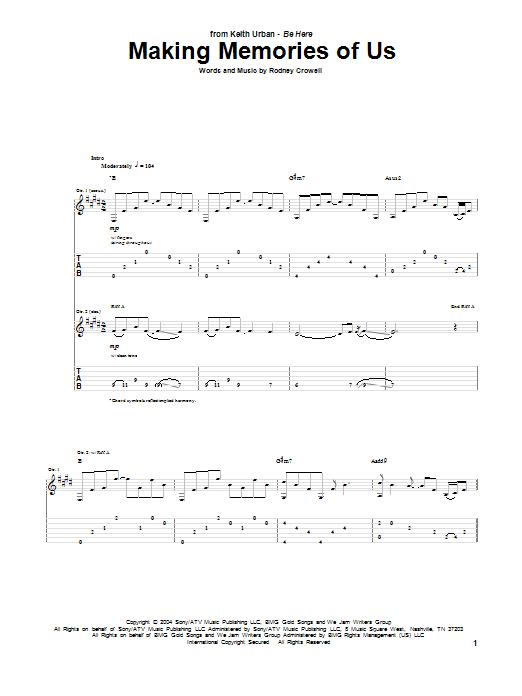 Tablature guitare Making Memories Of Us de Keith Urban - Tablature Guitare