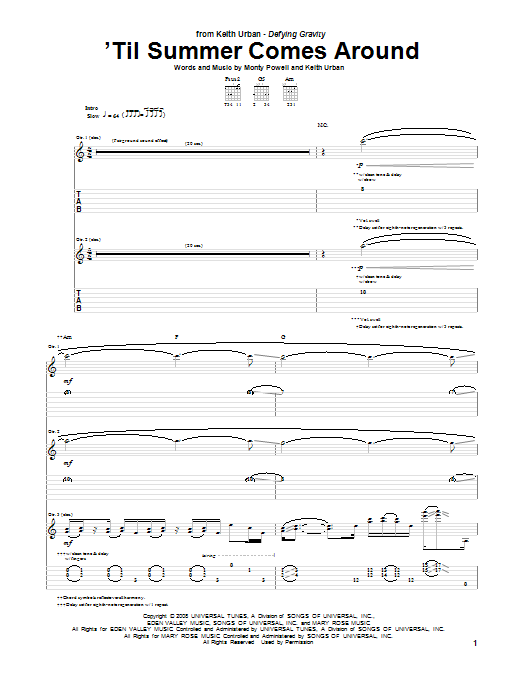 Tablature guitare 'Til Summer Comes Around de Keith Urban - Tablature Guitare