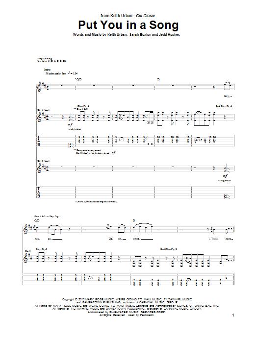 Tablature guitare Put You In A Song de Keith Urban - Tablature Guitare