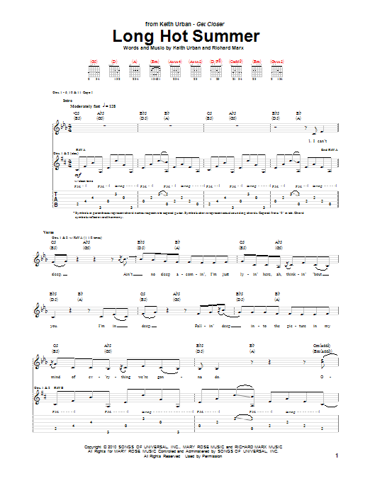 Tablature guitare Long Hot Summer de Keith Urban - Tablature Guitare