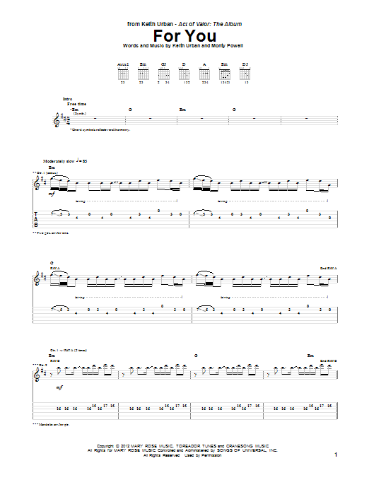 Tablature guitare For You de Keith Urban - Tablature Guitare
