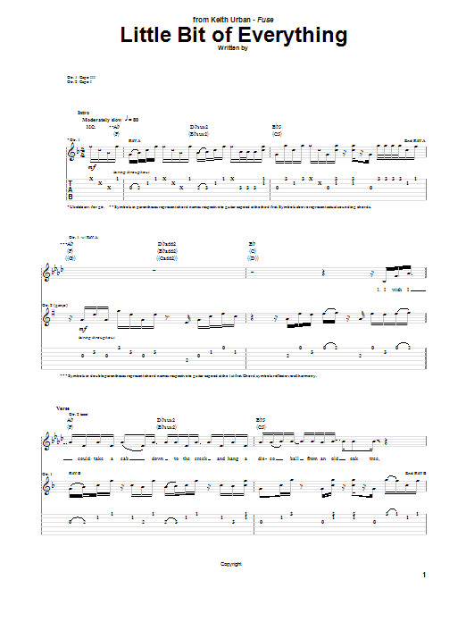 Tablature guitare Little Bit Of Everything de Keith Urban - Tablature Guitare