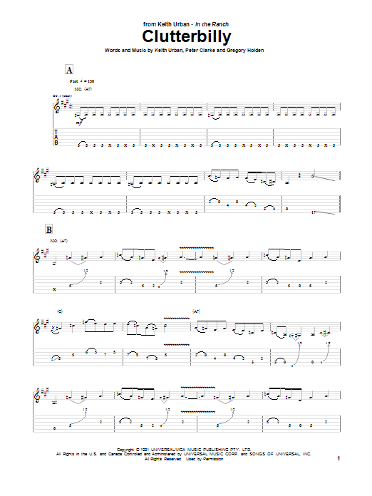 Tablature guitare Clutterbilly de Keith Urban - Tablature Guitare