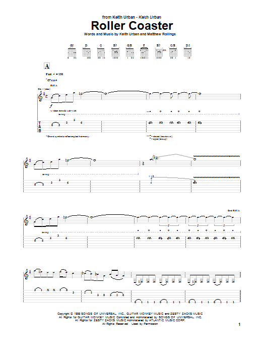Tablature guitare Roller Coaster de Keith Urban - Tablature Guitare