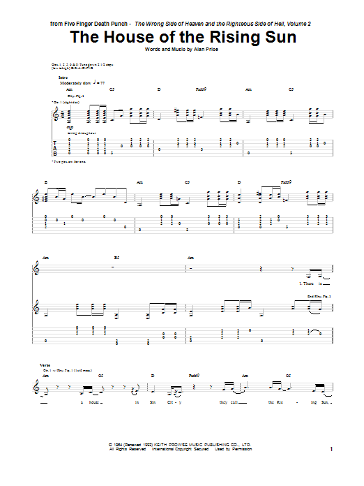 Tablature guitare The House Of The Rising Sun de Five Finger Death Punch - Tablature Guitare