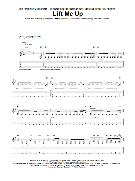 Tablature guitare Lift Me Up de Five Finger Death Punch - Tablature Guitare