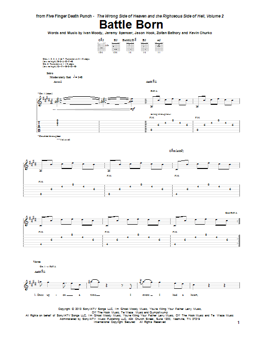 Tablature guitare Battle Born de Five Finger Death Punch - Tablature Guitare
