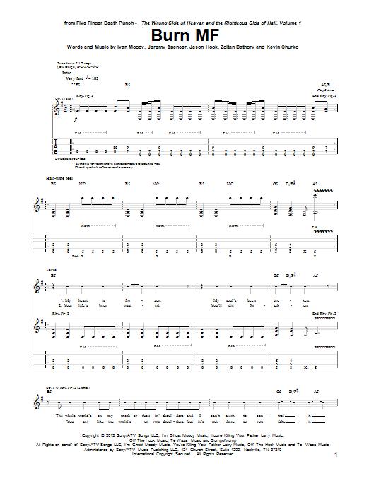Tablature guitare Burn MF de Five Finger Death Punch - Tablature Guitare