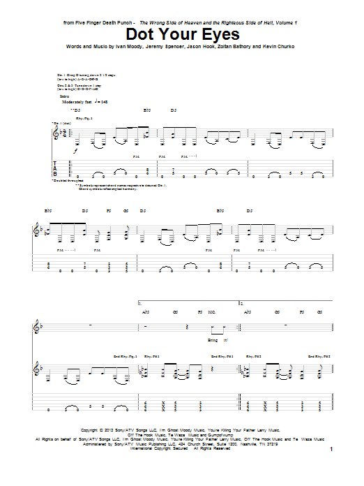 Tablature guitare Dot Your Eyes de Five Finger Death Punch - Tablature Guitare