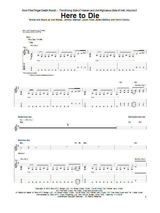 Tablature guitare Here To Die de Five Finger Death Punch - Tablature Guitare