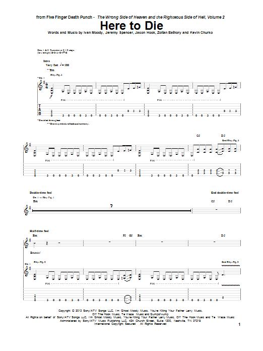 Tablature guitare Here To Die de Five Finger Death Punch - Tablature Guitare