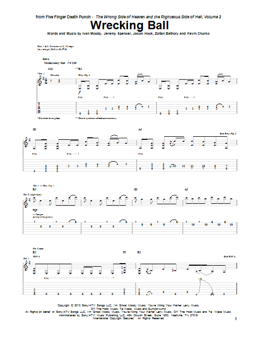Tablature guitare Wrecking Ball de Five Finger Death Punch - Tablature Guitare