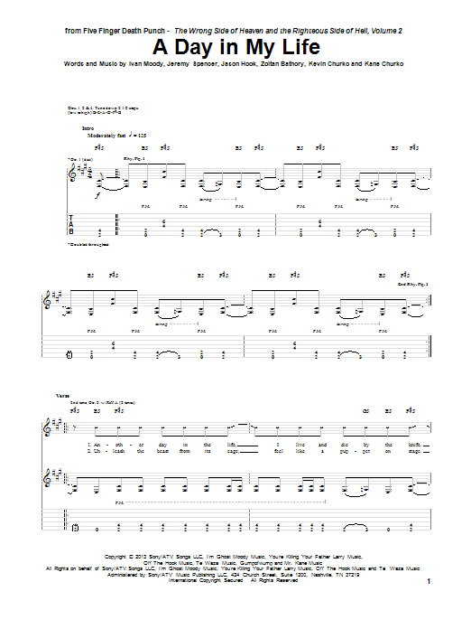 Tablature guitare A Day In My Life de Five Finger Death Punch - Tablature Guitare