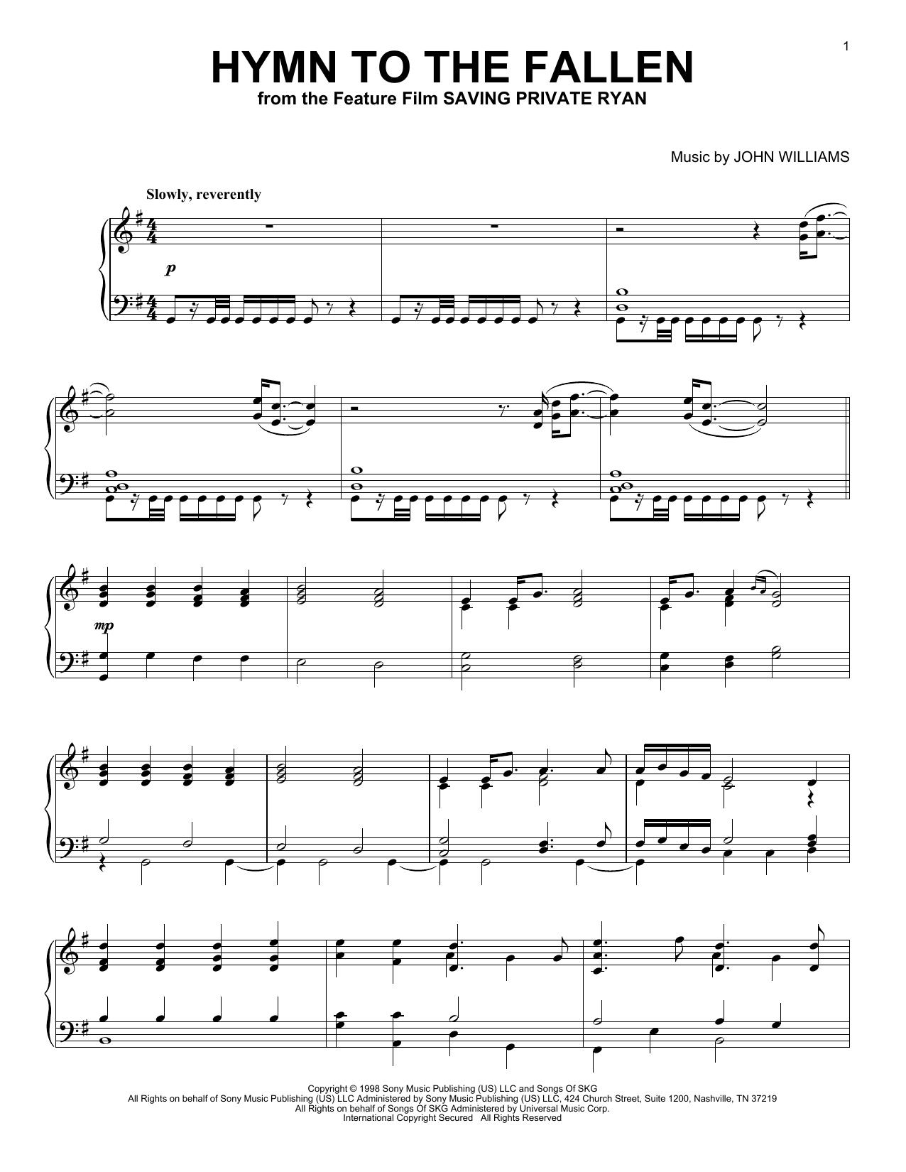 Partition piano Hymn To The Fallen de John Williams - Piano Solo