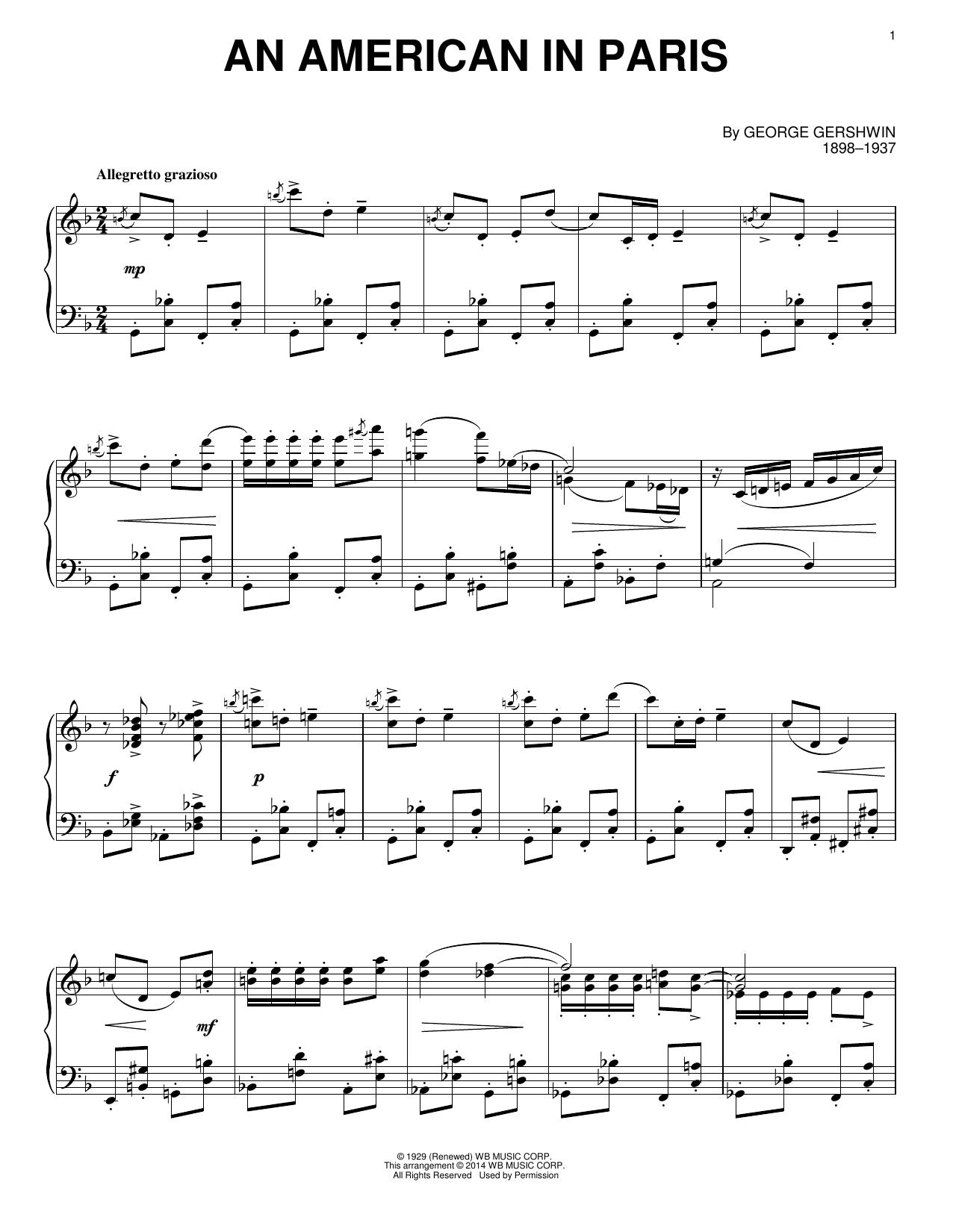 Partition piano An American In Paris de George Gershwin - Piano Solo