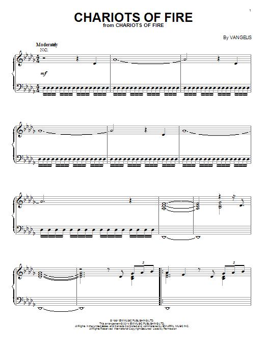 Partition piano Chariots Of Fire de Vangelis - Piano Solo