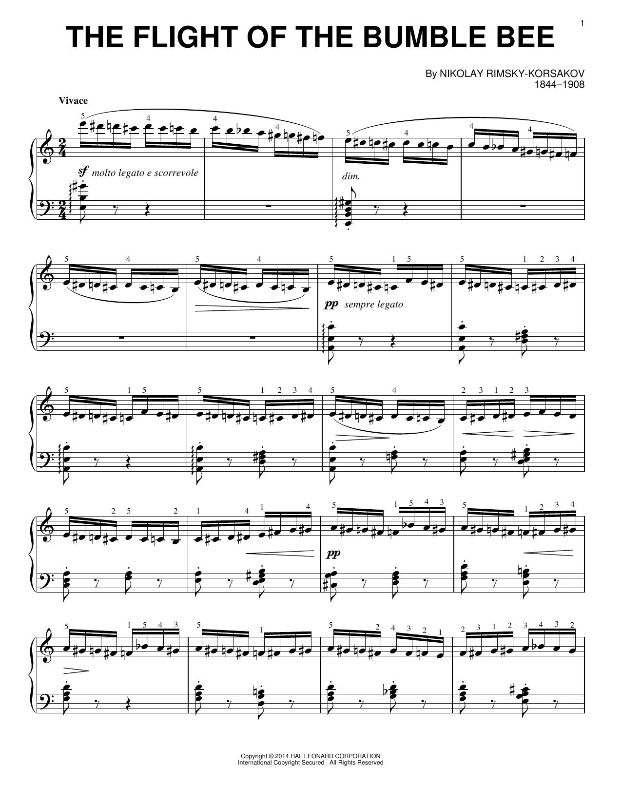 Partition piano The Flight Of The Bumble Bee de Nicolai Rimsky-Korsakov - Piano Solo