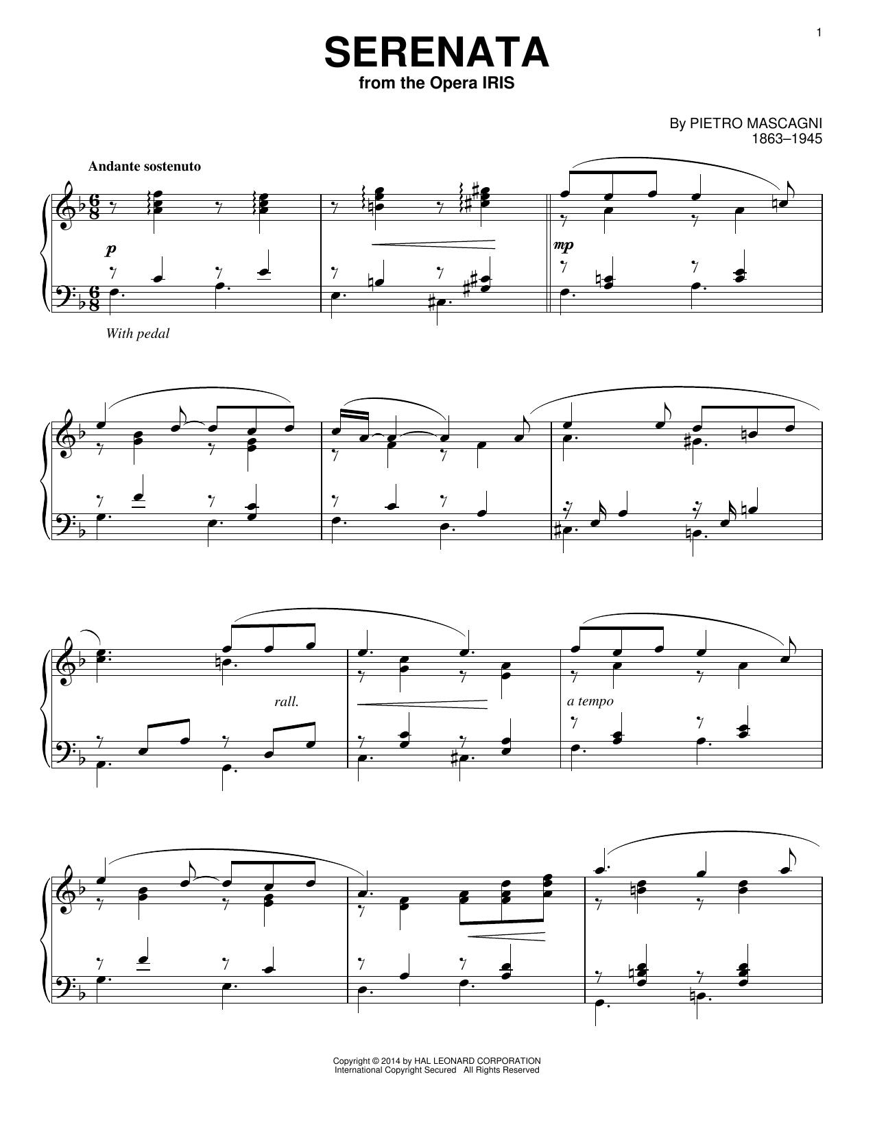 Partition piano Serenata de Pietro Mascagni - Piano Solo