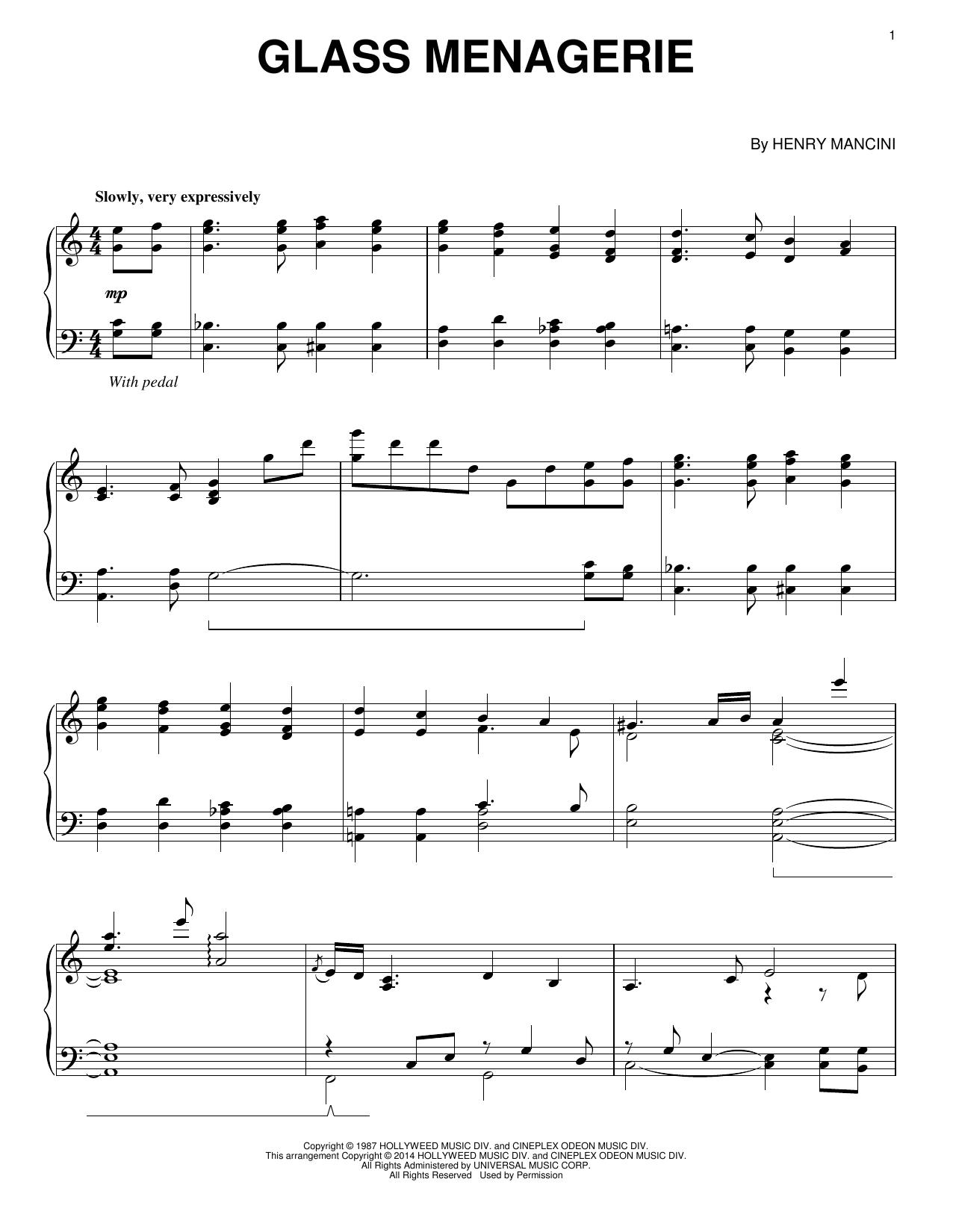 Partition piano Glass Menagerie de Henry Mancini - Piano Solo