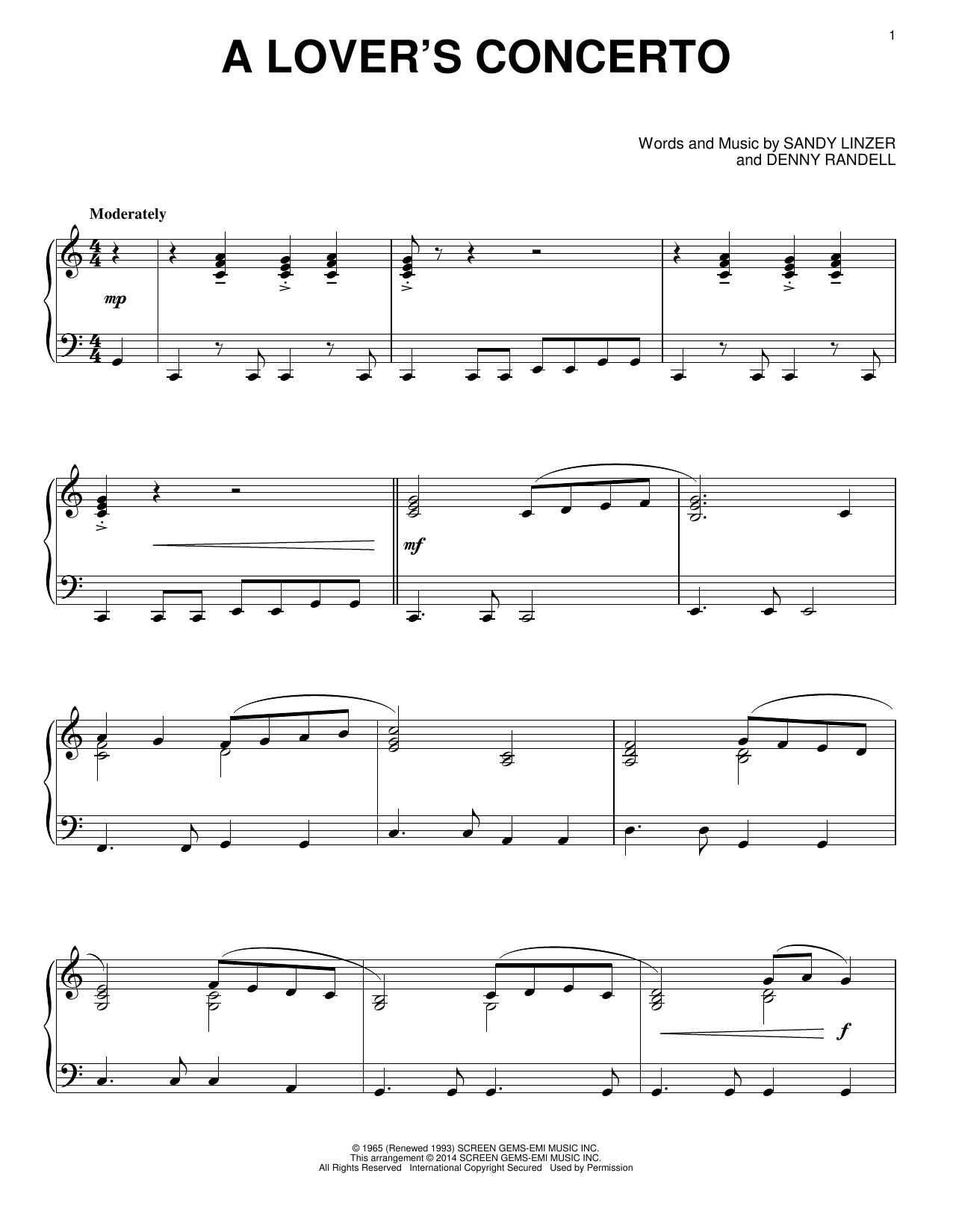 Partition piano A Lover's Concerto de The Toys - Piano Solo