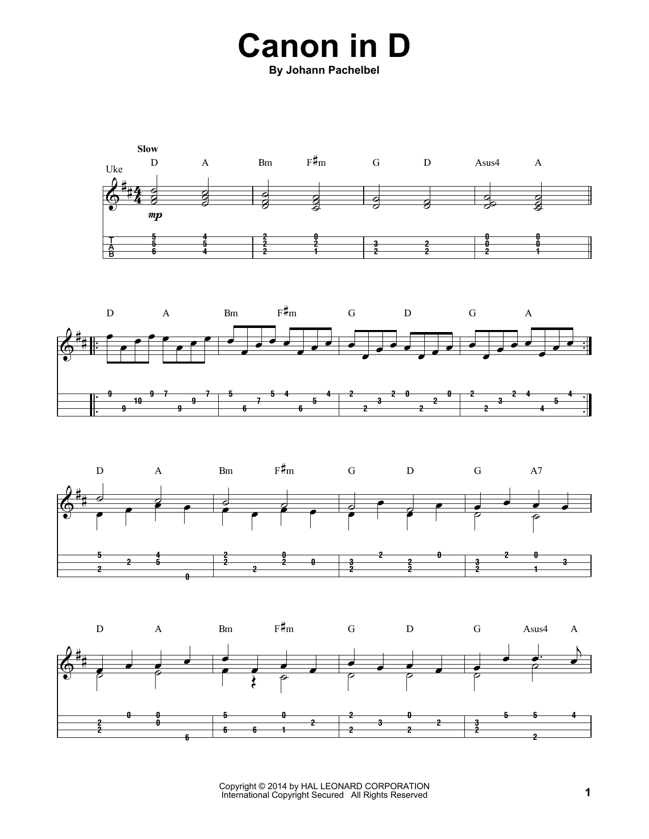 Canon In D sheet music by Johann Pachelbel (Ukulele u2013 155015)