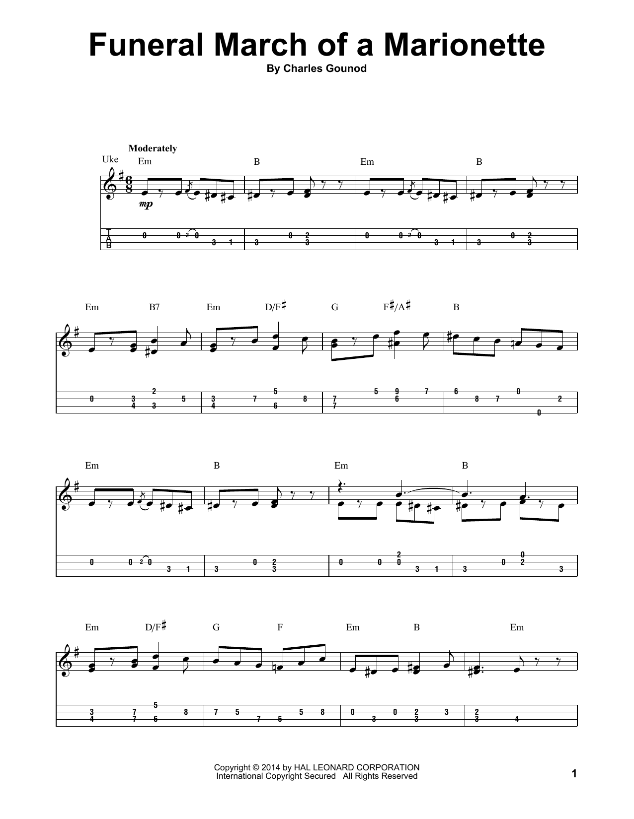 Tablature guitare Funeral March Of A Marionette de Charles Gounod - Ukulele