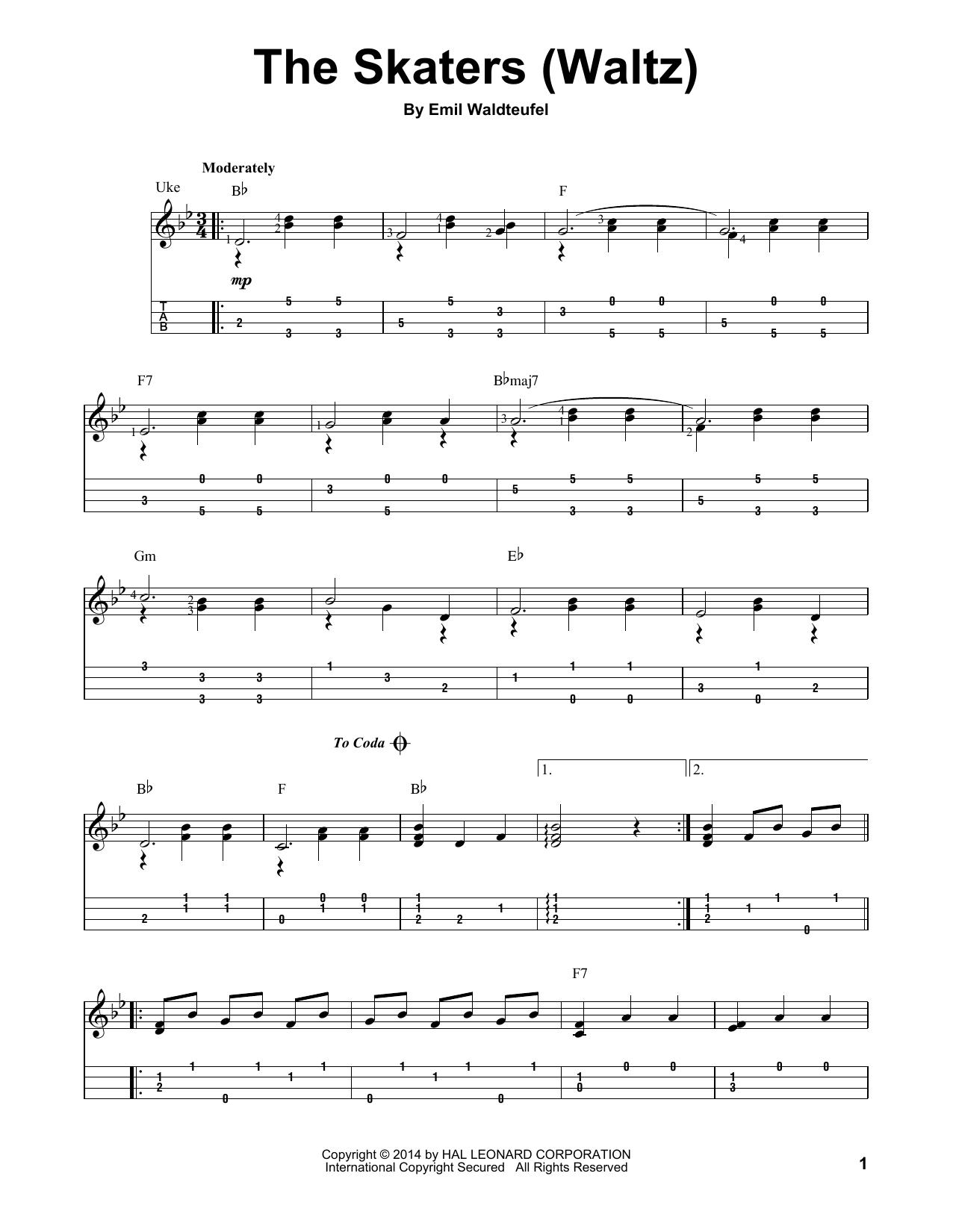 Tablature guitare The Skaters Waltz de Emile Waldteufel - Ukulele