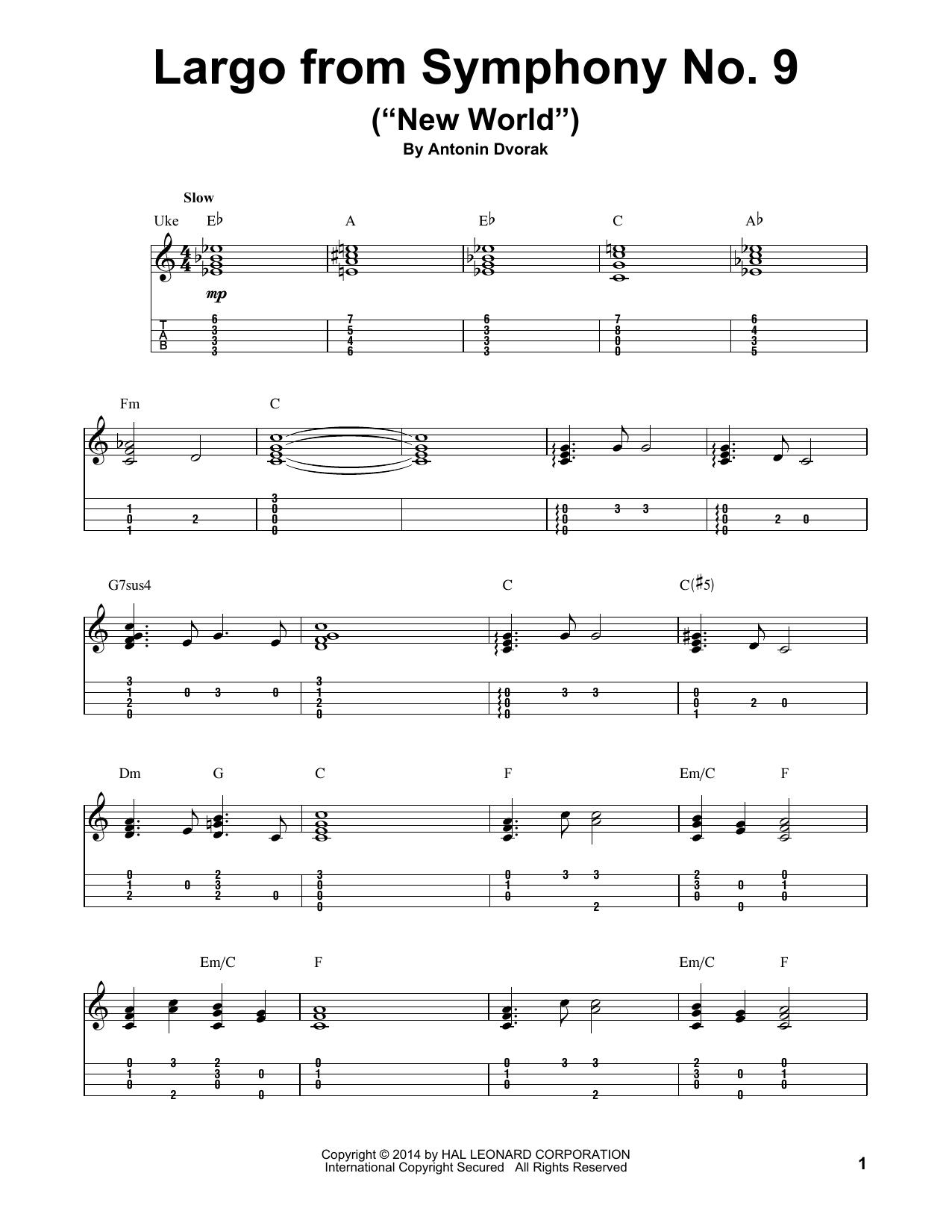 "Tablature guitare Largo From Symphony No. 9 (""New World"") de Antonin Dvorak - Ukulele"