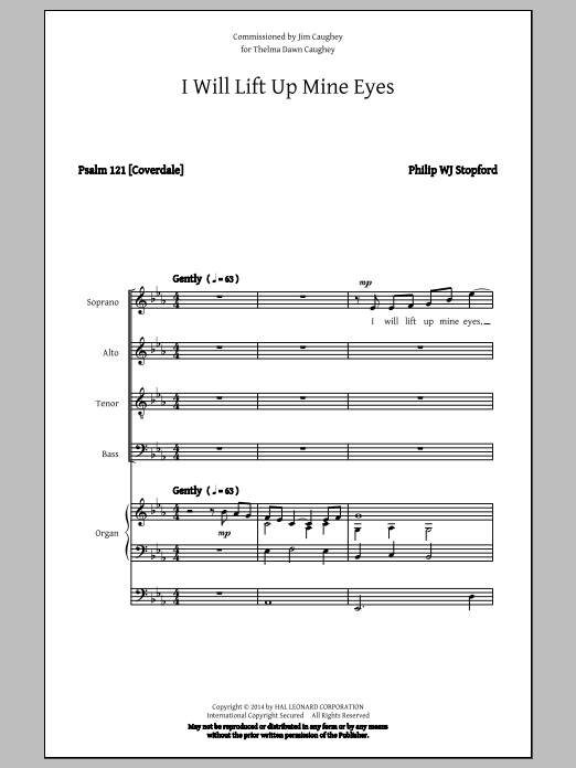Partition chorale I Will Lift Up Mine Eyes de Philip Stopford - SATB