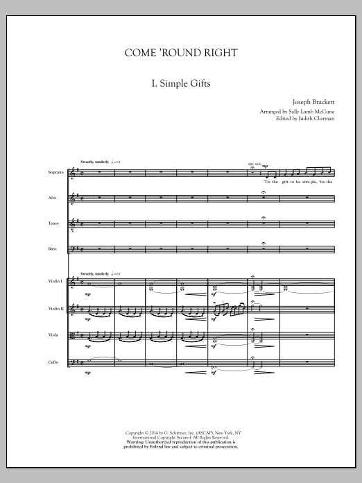 Come 'Round Right; A Folk Song Suite (COMPLETE) sheet music for orchestra/band by Sally Lamb McCune