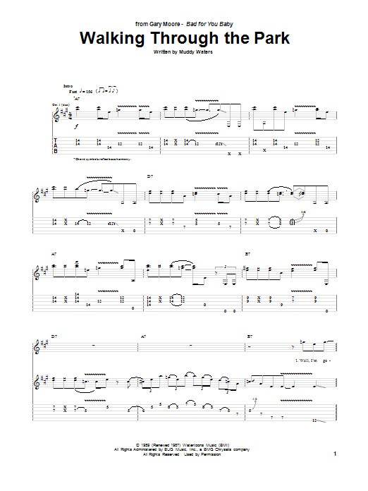 Tablature guitare Walking Through The Park de Gary Moore - Tablature Guitare