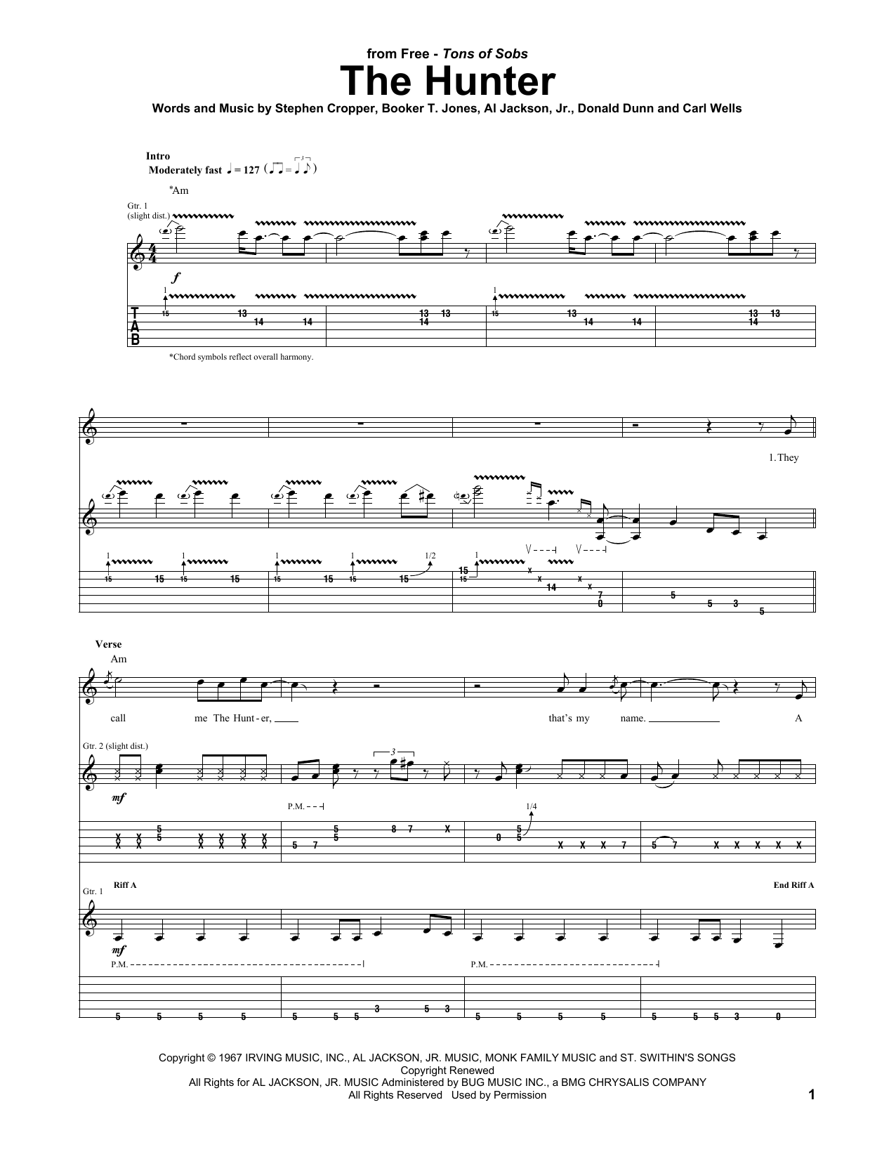 Tablature guitare The Hunter de FREE - Tablature Guitare