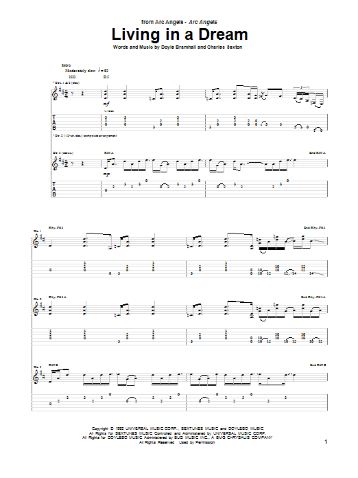 Tablature guitare Living In A Dream de Arc Angels - Tablature Guitare