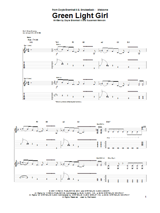 Tablature guitare Green Light Girl de Doyle Bramhall II - Tablature Guitare