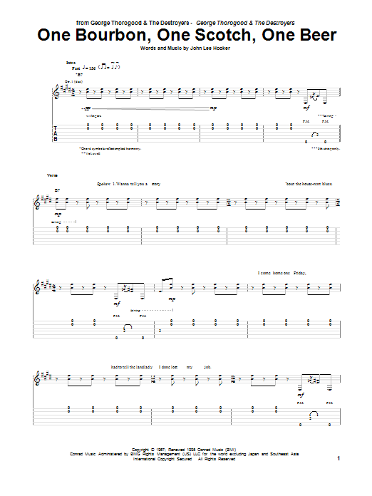 Tablature guitare One Bourbon, One Scotch, One Beer de George Thorogood & The Destroyers - Tablature Guitare