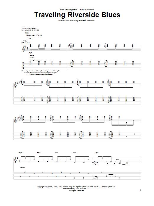 Tablature guitare Traveling Riverside Blues de Robert Johnson - Tablature Guitare