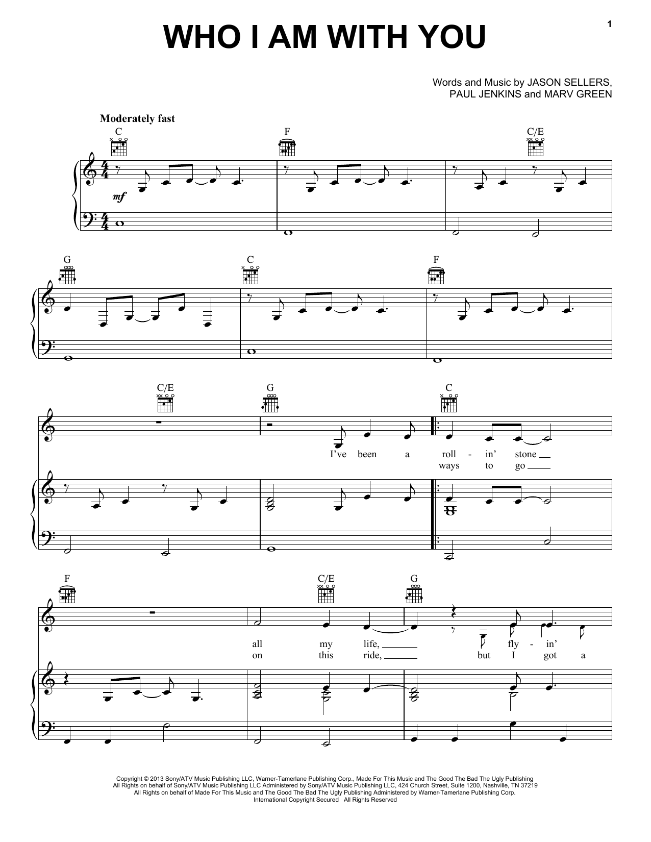 Partition piano Who I Am With You de Chris Young - Piano Voix Guitare (Mélodie Main Droite)
