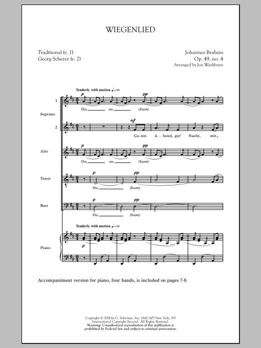 Partition chorale Wiegenlied (arr. Jon Washburn) de Johannes Brahms - Autre