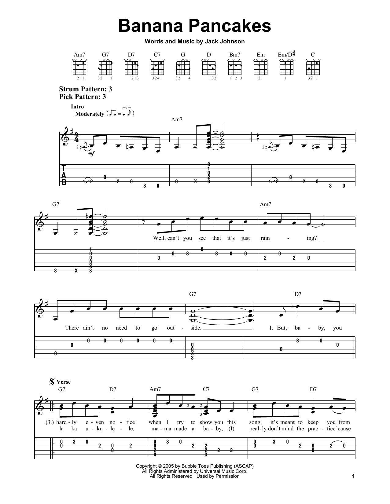 Tablature guitare Banana Pancakes de Jack Johnson - Tablature guitare facile