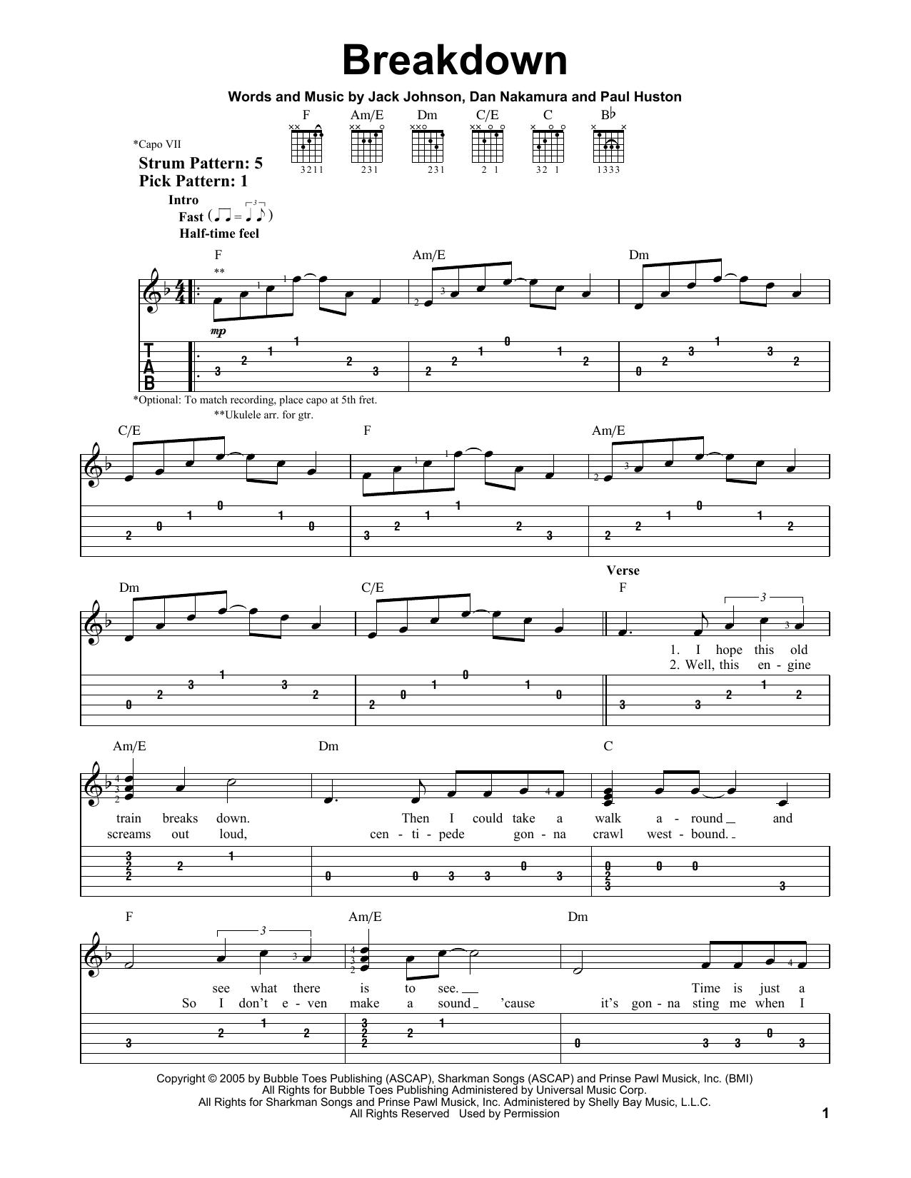 Tablature guitare Breakdown de Jack Johnson - Tablature guitare facile