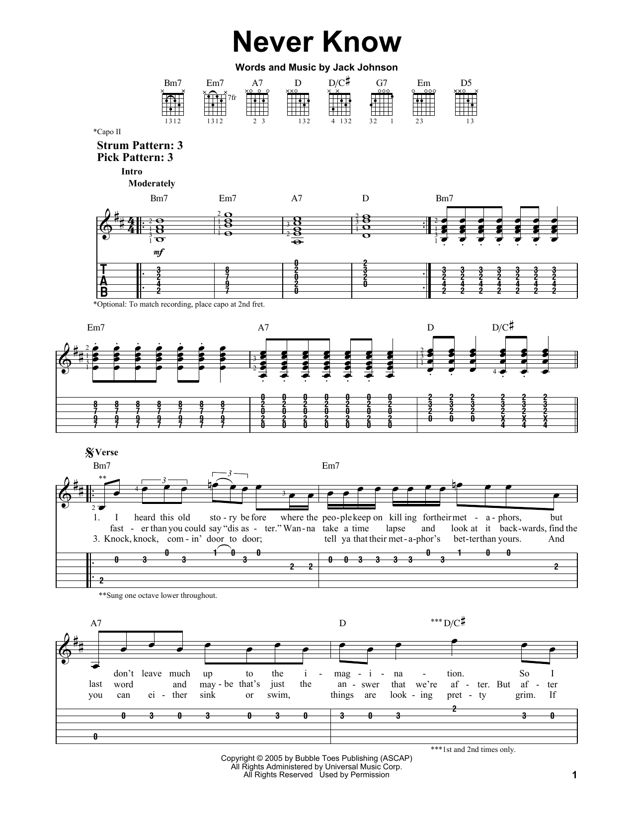 Tablature guitare Never Know de Jack Johnson - Tablature guitare facile