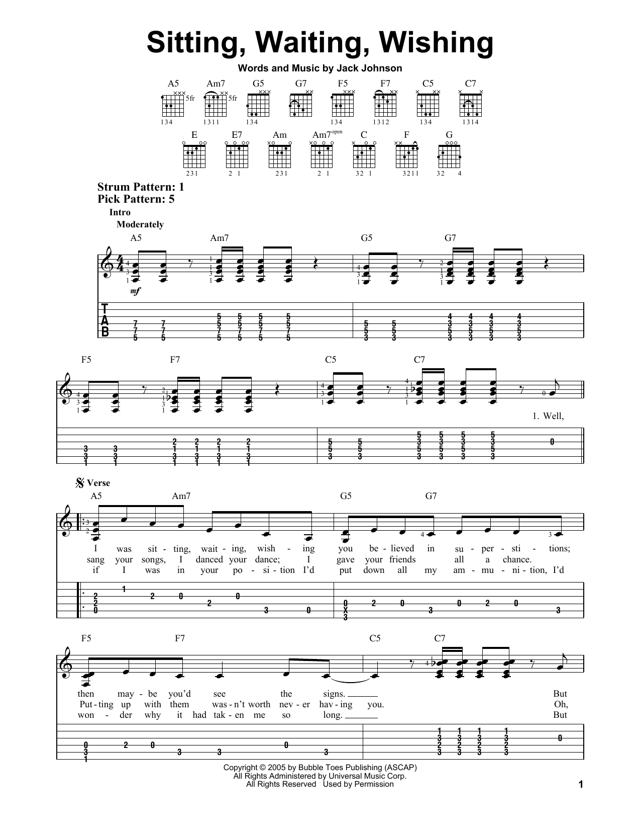 Tablature guitare Sitting, Waiting, Wishing de Jack Johnson - Tablature guitare facile