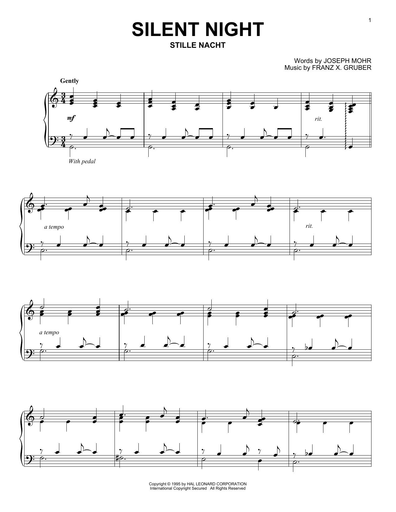 Partition piano Silent Night de Franz Gruber - Piano Solo