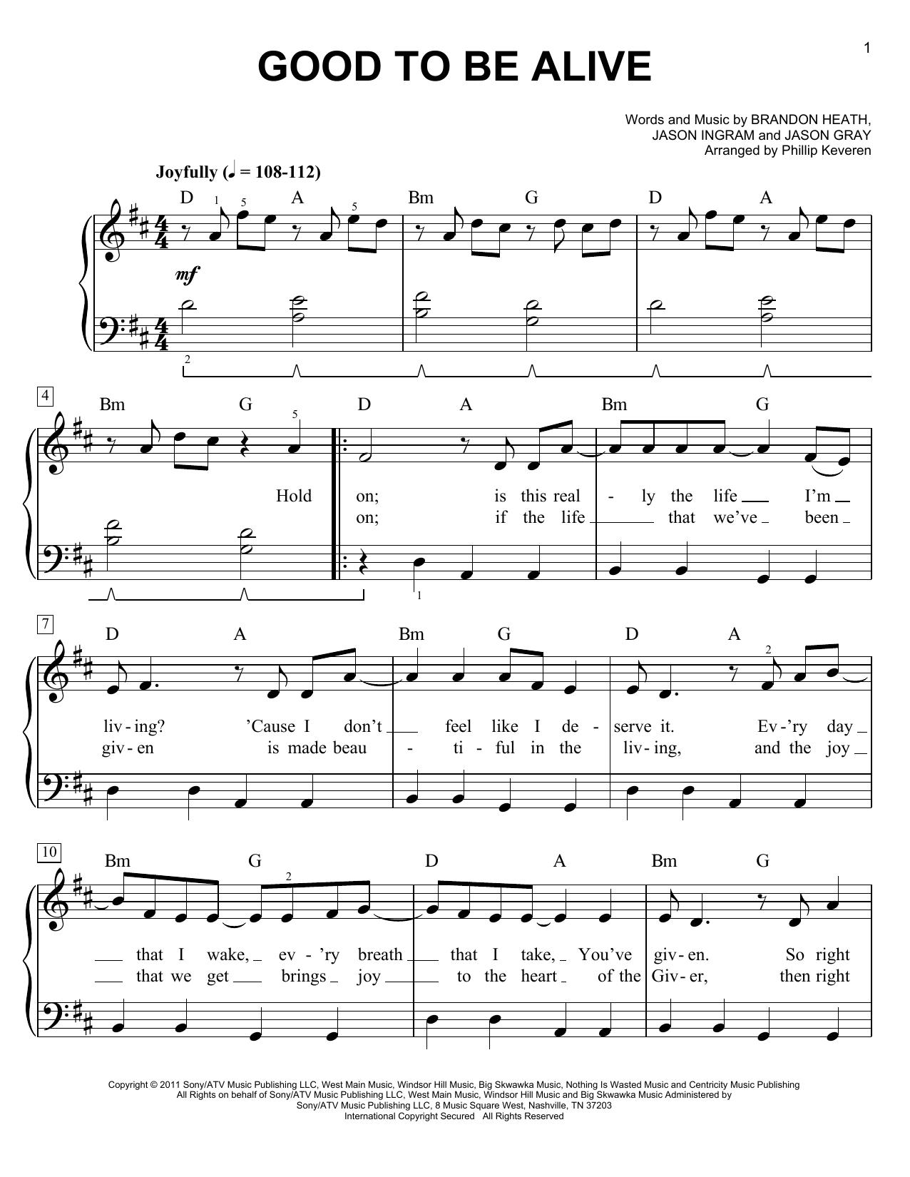 Partition piano Good To Be Alive de Jason Ingram - Piano Facile